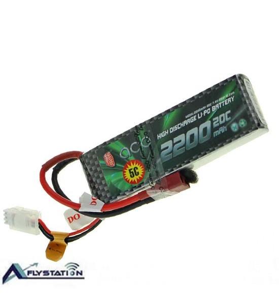 باتری لیتیوم پلیمر 7.4 ولت 2200 میلیآمپر (gens ace)