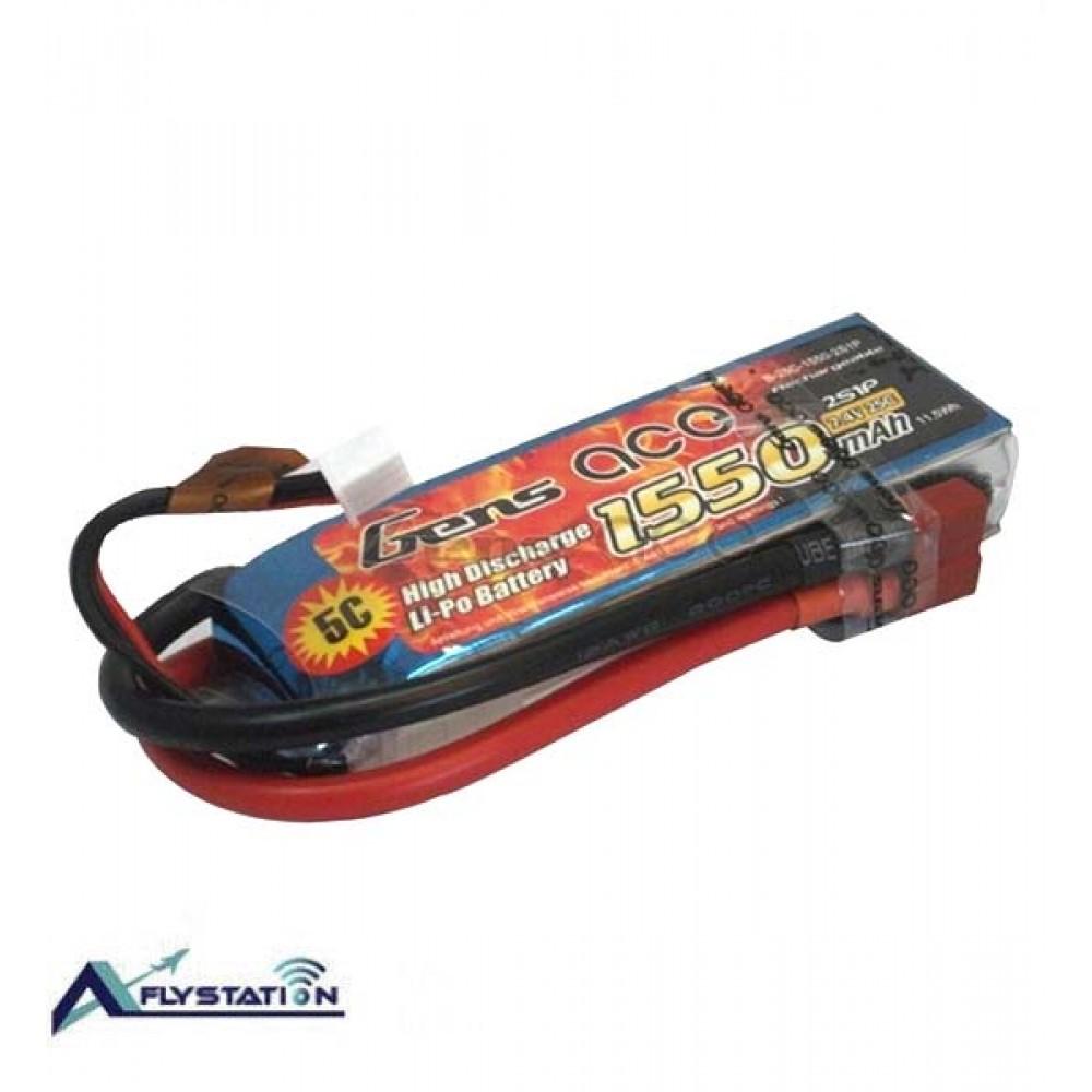 باتری لیتیوم پلیمر 7.4 ولت 1550mAh 25c برند Gens Ace