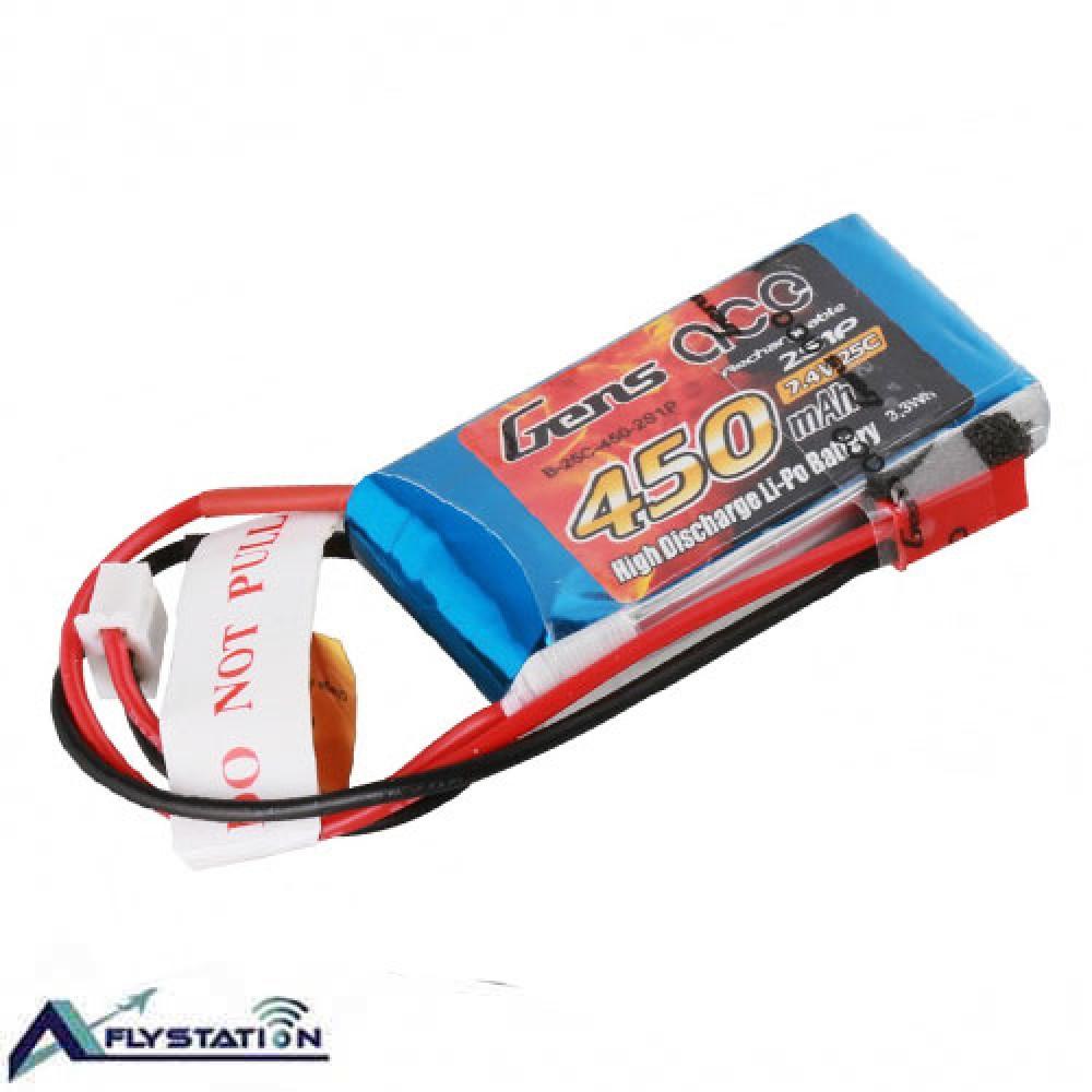 باتری لیتیوم پلیمر 7.4 ولت 450mAh 25c برند Gens Ace
