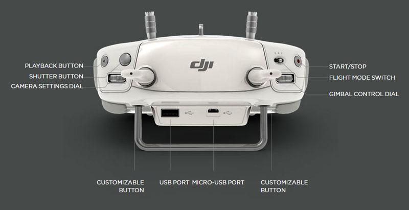 در تصاویر زیر راهنمای دکمههای رادیوکنترل به خوبی نشان داده شده است.  پهپاد یا کوادکوپتر دوربین دار فانتوم 3