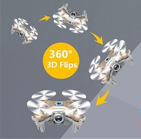 امکان چرخش 360 درجه کوادکوپتر Cx10w در هوا ، یکی دیگر از ویژگیهای جذاب آن است که به سادگی امکان پذیر است. خلبان، حتی آنهایی که مبتدی هستند میتوانند با استفاده از رادیوکنترل (همان گوشی یا تبلت) به راحتی پرواز چشمگیری را از خود به نمایش بگذارند.
