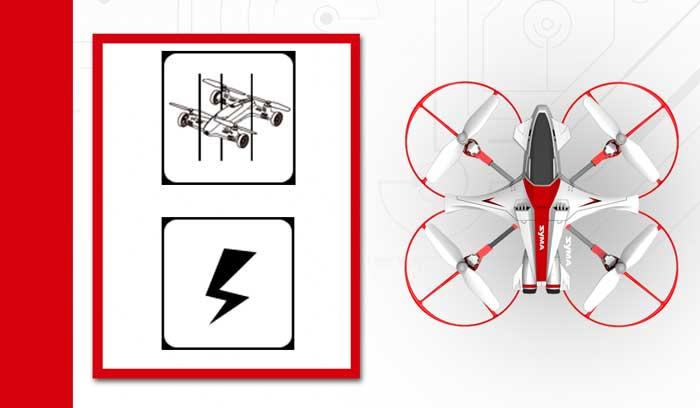 حفاظت از ولتاژ پایین : زمانی که چهار چراغ نشانگر زیر پهپاد شروع به چشمک زدن کنند به این معنی است که باتری پهپاد در حال کاهش است . در این شرایط پهپاد ارتفاع خود را به مرور کاهش داده تا از آسیبهای ناشی از سقوط از ارتفاع زیاد به دلیل کاهش باتری در امان بماند.